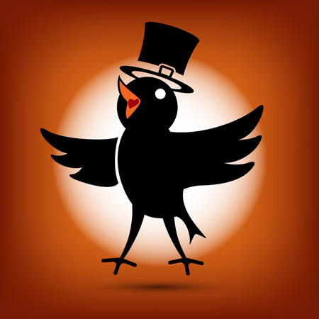 twitter: Singing Cute Black Morning Bird Icon. Flat style Illustration