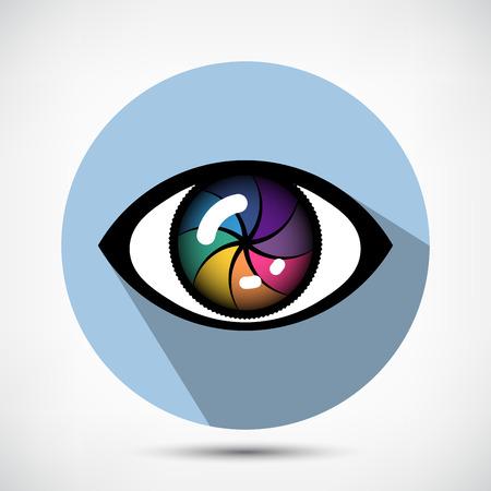 open eye: Open Cyber Eye Icon. Flat style