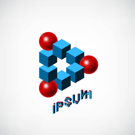 Abstract Blue Cubes and Red Ball icon template