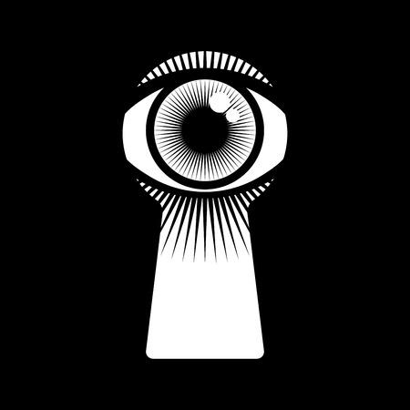 ojo humano abierto en ojo de la cerradura