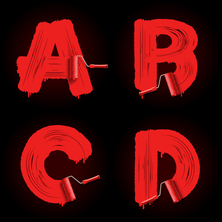 Red roller brush alphabet font