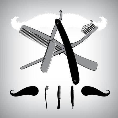 stubble: Bathroom accessoires. Razor blade, toothbrush and Hair Brush