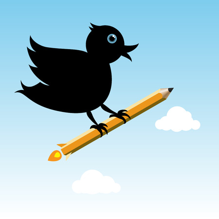 writing equipment: black bird with pencil rocket at the sky Illustration
