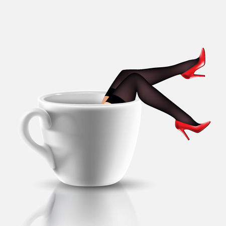 legs stockings: coffee cup with legs in stocking and red shoes