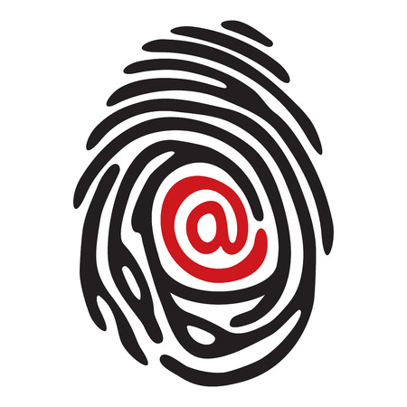 simplified: black finger print with red @ email sign
