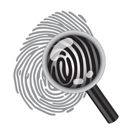 fingermark: finger print with magnifying glass