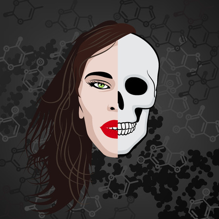 mujer pirata: media cara del cráneo humano