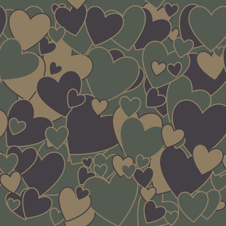 camuflaje: Surrealista fondo del camuflaje militar con forma de corazón Amor Vectores