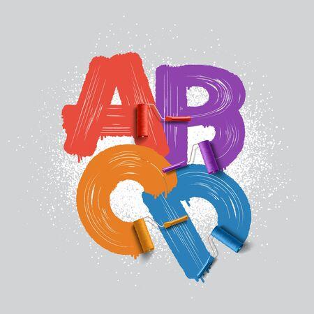 renovate: Red roller brush alphabet font