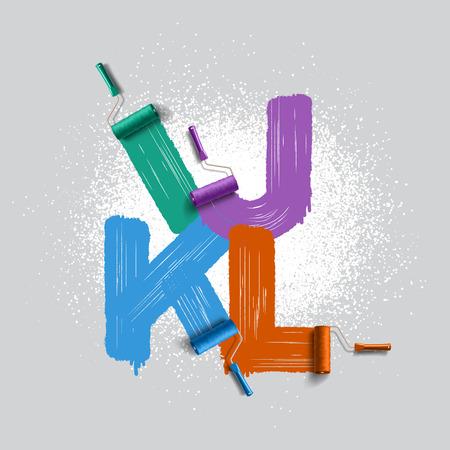 roller brush: Rodillo rojo alfabeto fuente cepillo Vectores