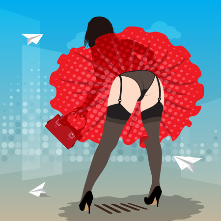 wind blowing up red dress and showing buttocks and legs of beautiful woman Vector