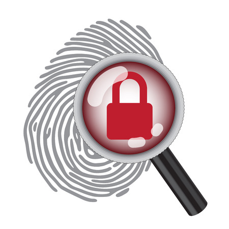 finger print: finger print with magnifying glass and lock Illustration