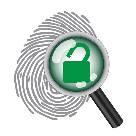 doorlock: finger print with magnifying glass and unlock