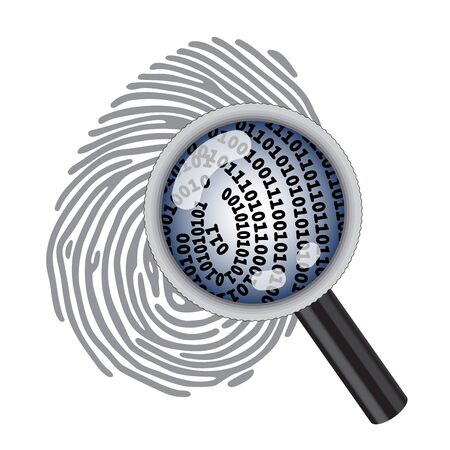 data theft: finger print with magnifying glass and digital code Illustration