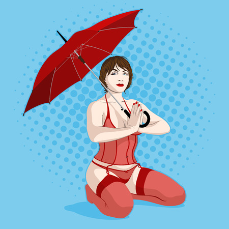 sexy woman sitting with red umbrella
