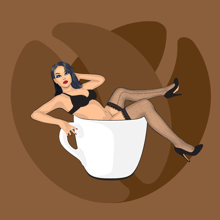 legs stockings: coffee cup with sexy girl in stocking and beans background