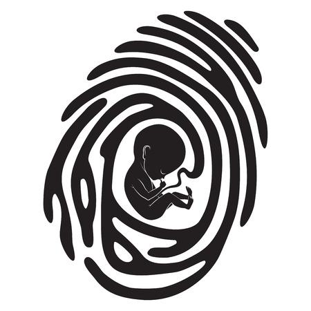 黒指胎児と印刷  イラスト・ベクター素材