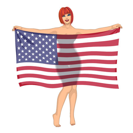 sexy young woman: sexy girl behind the flag of Unated States of America Illustration