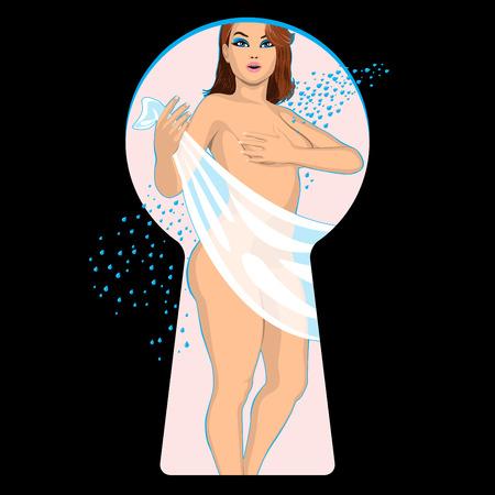 ni�a desnuda: chica desnuda en el cuarto de ba�o se ve a trav�s de ojo de cerradura