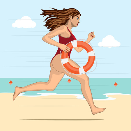 lifebelt: Running woman - lifeguard in a red swimming suit with lifebelt on a water background