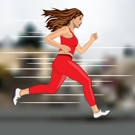 young running woman on blur city background