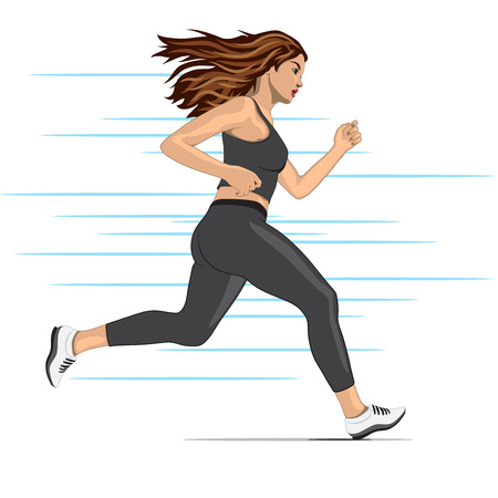 road runner: young running woman