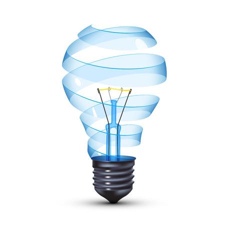 tungsten: surreal spiral glass tungsten light bulb