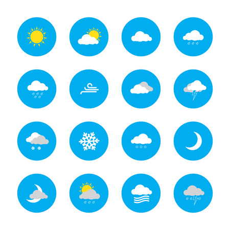 newscast: weather forecast icons in blue rounds