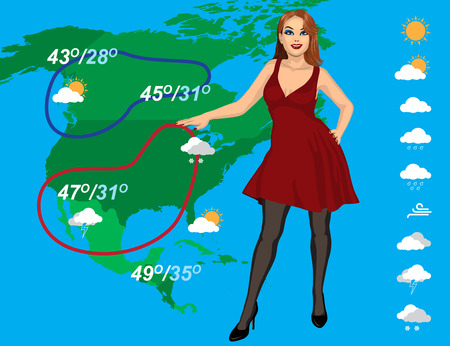 weather forecast with beautiful young woman on the map background