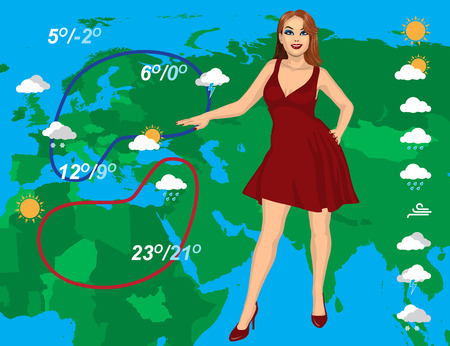 newscast: weather forecast with beautiful young woman on the map background