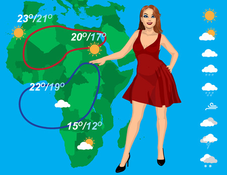 meteorologist: weather forecast with beautiful young woman on the map background
