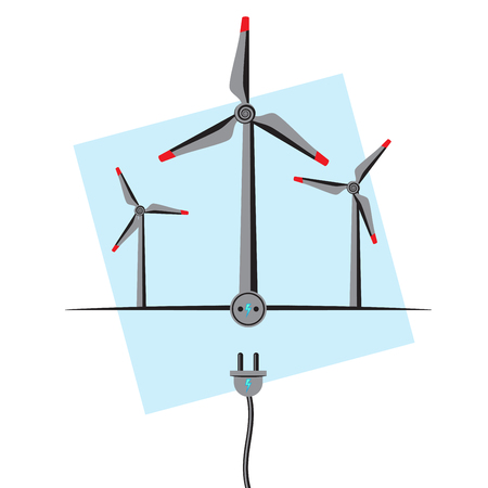 plugin: Wind Turbines with plugin socket and wire. Wind Energy concept