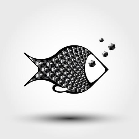 pez abstracto: peces abstracto decorativo de gemas negras