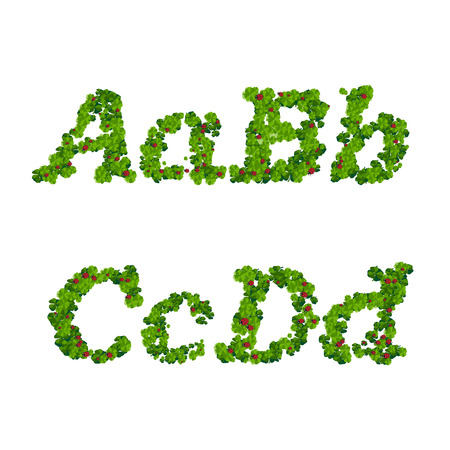 Happy Saint Patricks Day font, alphabet letters and digits from clover with ladybugs Illustration