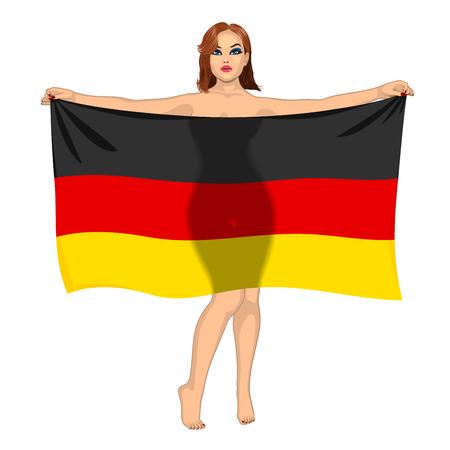 sexy meisje: sexy meisje achter de vlag van Duitsland Stock Illustratie