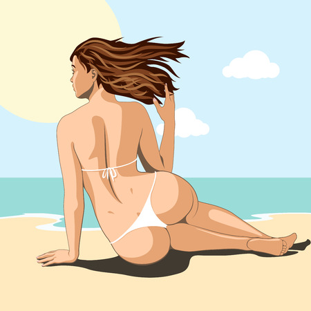 beautiful sexy woman sitting on beach of sea and takes sunbath