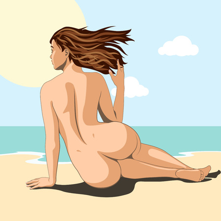 beautiful naked woman sitting on beach of sea and takes sunbath