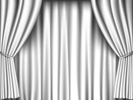 theater curtain: white curtain retro background