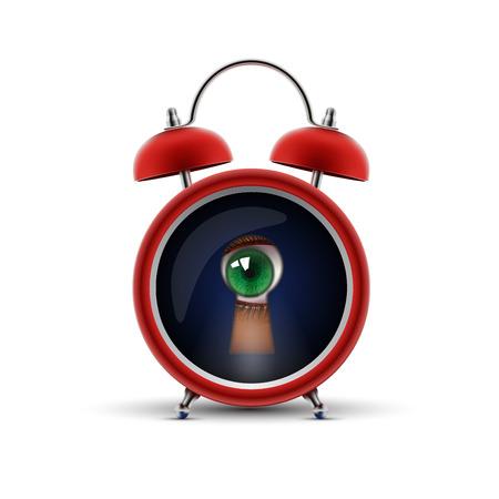 keek: red alarm clock with keyhole eye Illustration