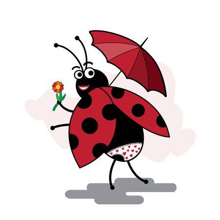 coccinellidae: funny cartoon ladybug pinup with umbrella