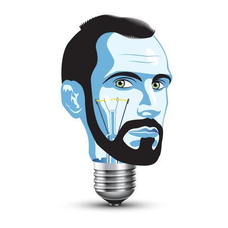 Light Bulb with Head of Beard Man Vector