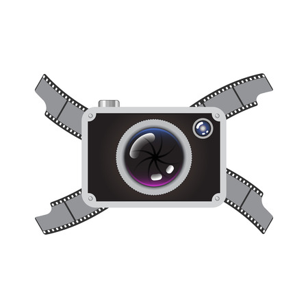 camera film: Hipster Retro Style Photo Camera with Crossed Film