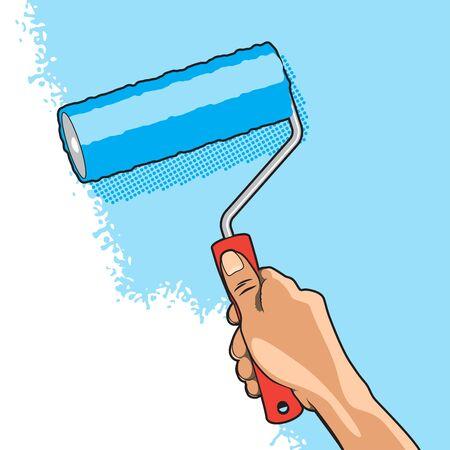 roller brush: Mano Pinturas de pared con color azul Roller Brush Vectores