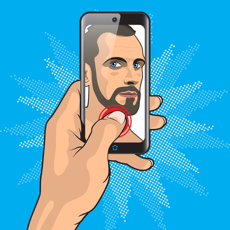 Man Makes Selfie with Smartphone in Hand