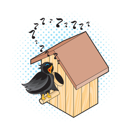 nesting box: Starling and Nesting Box. Black Bird Sings near the Nest