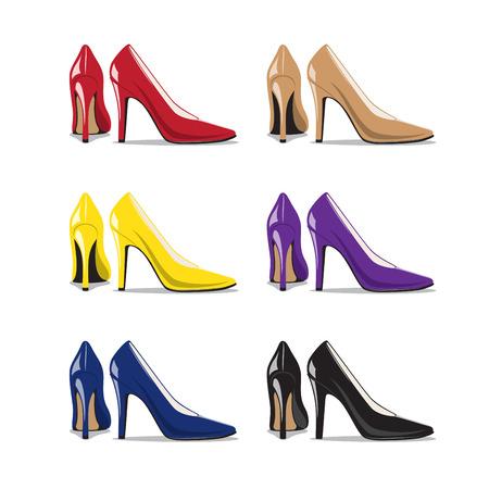 stiletto: Set of Trendy Woman Shoes
