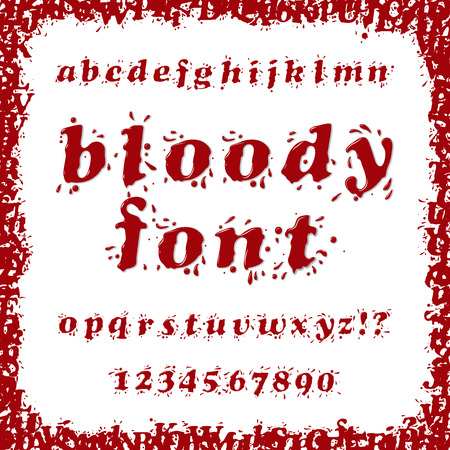 donor blood type: Bloody Splash Font Set Illustration