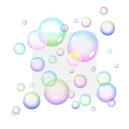 burbujas de jabon: Burbujas de jabón de colores Set con Transparencia Vectores
