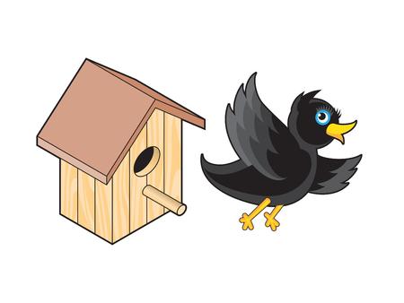starling: Starling and Nesting Box. Black Bird Flies from Nest Illustration