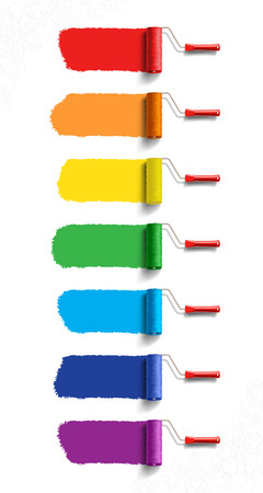 Roller Brushes with Seven Colors Paint Vectores